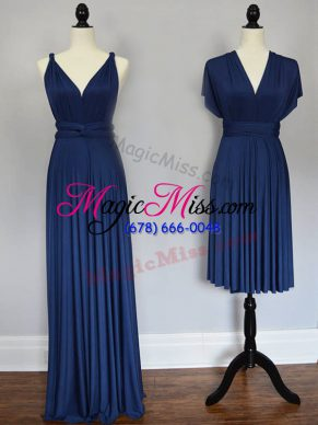 Custom Fit Navy Blue Sleeveless Floor Length Ruching Lace Up Bridesmaids Dress