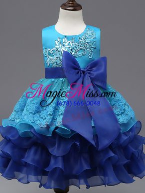 Sleeveless Organza Tea Length Zipper Flower Girl Dress in Royal Blue with Lace and Ruffled Layers and Bowknot