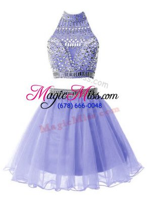 Charming Lavender A-line Beading Bridesmaids Dress Zipper Organza Sleeveless Knee Length