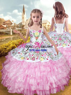 Floor Length Lace Up Little Girls Pageant Gowns Rose Pink for Party and Wedding Party with Embroidery and Ruffled Layers