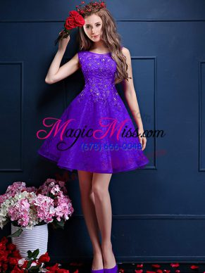 A-line Wedding Guest Dresses Purple Bateau Tulle Sleeveless Knee Length Lace Up