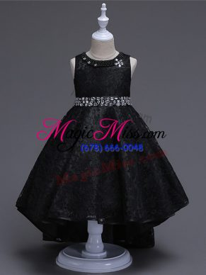 Super Sleeveless Lace High Low Lace Up Flower Girl Dresses in Black with Beading