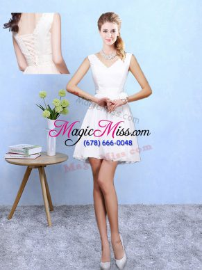 Mini Length Lace Up Bridesmaid Dress White for Beach and Wedding Party with Lace