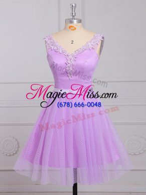 Lilac V-neck Lace Up Appliques and Belt Bridesmaids Dress Sleeveless