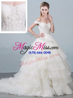 White Ball Gowns Lace and Ruffled Layers Wedding Gowns Lace Up Organza Sleeveless