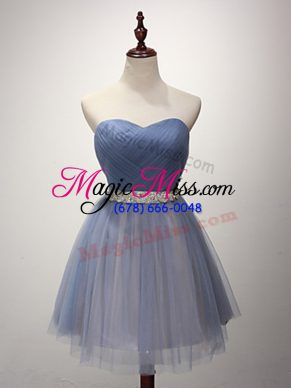 Blue Sleeveless Beading and Ruching Mini Length Bridesmaid Dresses