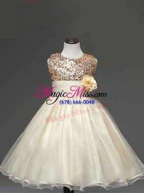 Sleeveless Knee Length Sequins and Hand Made Flower Zipper Little Girl Pageant Dress with Champagne