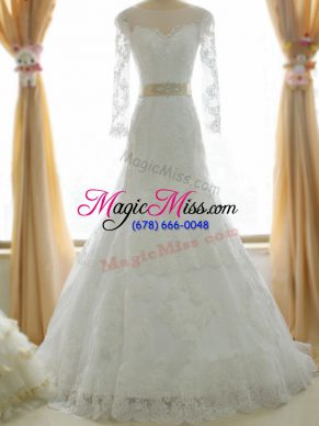 Mermaid Long Sleeves White Wedding Gown Brush Train Zipper
