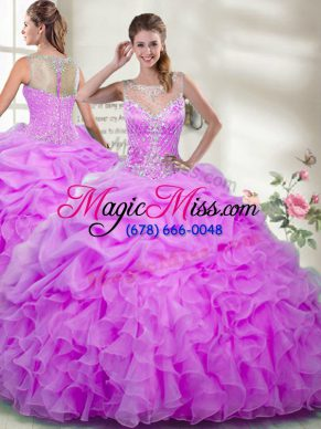 Lilac Scoop Zipper Beading and Ruffles Quinceanera Gowns Sleeveless