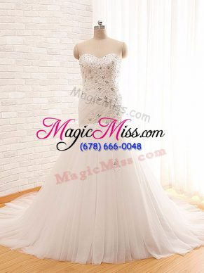 Inexpensive White Lace Up Bridal Gown Beading and Appliques Sleeveless Brush Train