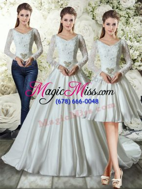 White Long Sleeves Taffeta Chapel Train Lace Up Wedding Dress for Wedding Party