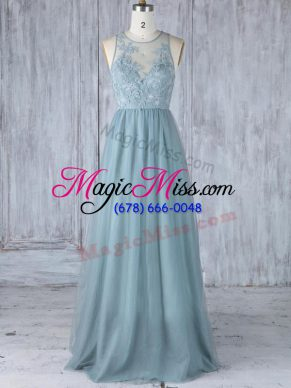 Pretty Tulle Sleeveless Floor Length Vestidos de Damas and Appliques