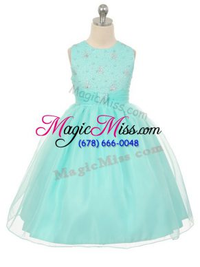 Apple Green Ball Gowns Scoop Sleeveless Tulle Knee Length Lace Up Beading Little Girl Pageant Gowns