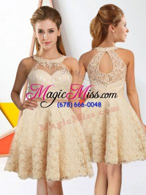 Knee Length Zipper Wedding Party Dress Champagne for Prom and Party with Lace