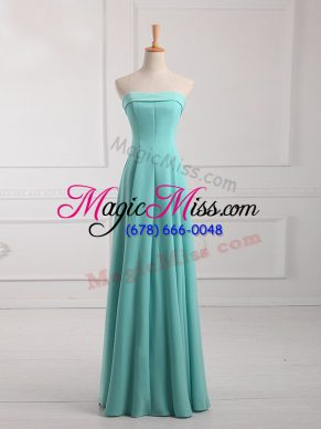 Ruching Bridesmaid Dresses Aqua Blue Lace Up Sleeveless Floor Length