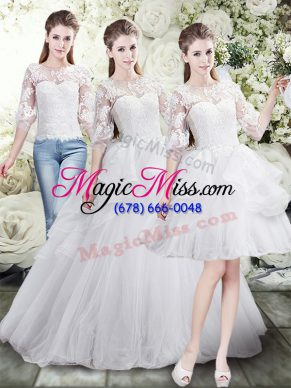 Scoop Half Sleeves Wedding Gowns Brush Train Lace and Ruffles White Tulle