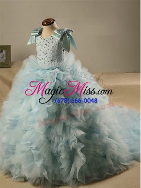 Admirable Light Blue Tulle Zipper Little Girls Pageant Gowns Sleeveless Brush Train Beading and Ruffles and Bowknot