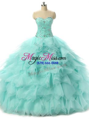 Vintage Apple Green Ball Gowns Tulle Sweetheart Sleeveless Beading and Ruffles Floor Length Lace Up Quinceanera Gown