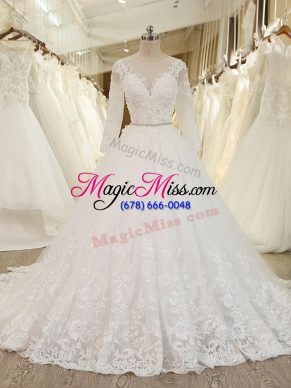 Designer White Ball Gowns Beading and Lace and Appliques Bridal Gown Zipper Tulle Long Sleeves