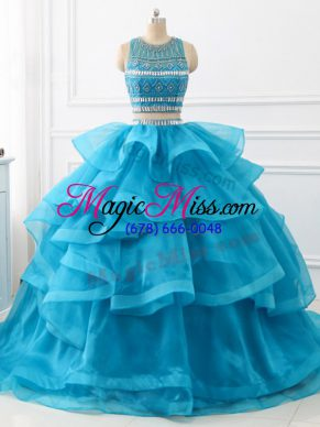 Glorious Baby Blue Backless Quinceanera Dress Beading and Ruffles Sleeveless Brush Train