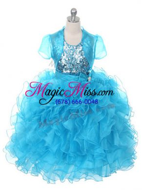 Popular Baby Blue Ball Gowns Ruffles and Sequins and Bowknot Little Girls Pageant Gowns Lace Up Organza Sleeveless Floor Length