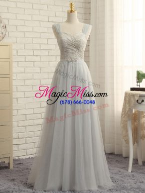 Grey Zipper Straps Lace Quinceanera Dama Dress Tulle Sleeveless Sweep Train