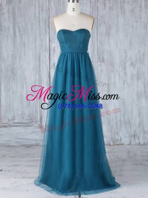 Luxury Teal Side Zipper Sweetheart Appliques Bridesmaid Dresses Tulle Sleeveless