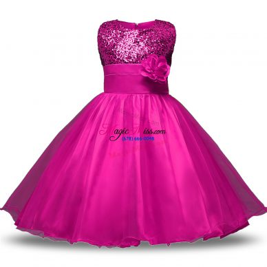 Flirting Organza and Sequined Sleeveless Knee Length Flower Girl Dresses for Less and Bowknot and Belt and Hand Made Flower