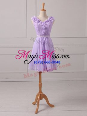 Empire Bridesmaid Gown Lavender V-neck Chiffon Sleeveless Mini Length Lace Up