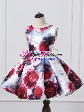 Latest Multi-color Sleeveless Printed Zipper Girls Pageant Dresses for Wedding Party