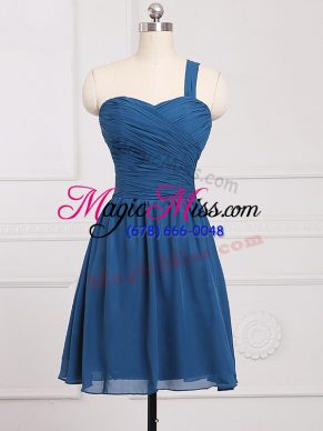 Mini Length Blue Wedding Party Dress One Shoulder Sleeveless Zipper