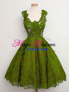 Custom Design Lace Dama Dress Olive Green Lace Up Sleeveless Knee Length