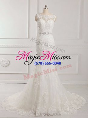 Great Sleeveless Brush Train Backless Beading and Lace and Appliques Wedding Gowns