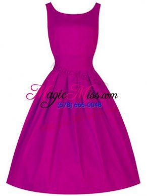 Enchanting Knee Length Lace Up Dama Dress for Quinceanera Fuchsia for Prom and Party and Wedding Party with Ruching