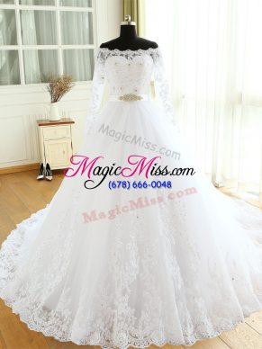 Eye-catching Tulle Long Sleeves Wedding Gowns Court Train and Beading and Lace and Appliques