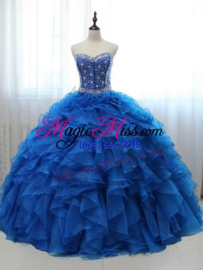 Lovely Organza and Tulle Sweetheart Sleeveless Lace Up Beading and Ruffles Sweet 16 Dress in Royal Blue
