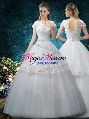 Cheap White Ball Gowns Scoop Short Sleeves Tulle Floor Length Lace Up Embroidery Wedding Gown