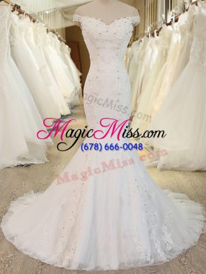 Low Price Mermaid Sleeveless White Bridal Gown Brush Train Zipper