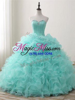 Glamorous Ball Gowns Quinceanera Dresses Apple Green Sweetheart Organza Sleeveless Floor Length Lace Up