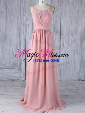 Fancy Pink Sleeveless Appliques Floor Length Wedding Party Dress