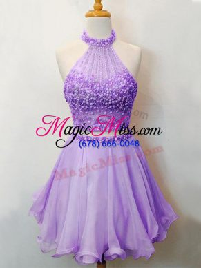 Charming Two Pieces Bridesmaid Gown Lavender Halter Top Organza Sleeveless Knee Length Lace Up