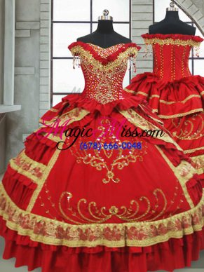 Latest Satin and Taffeta Off The Shoulder Cap Sleeves Zipper Beading and Embroidery and Ruffled Layers Sweet 16 Dress in Red