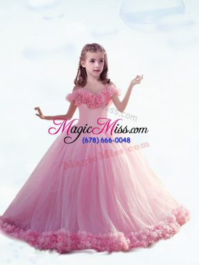 Sleeveless Hand Made Flower Lace Up Child Pageant Dress with Baby Pink Court Train