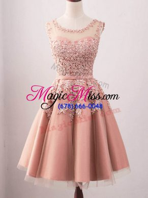 Tulle Sleeveless Knee Length Quinceanera Court Dresses and Lace