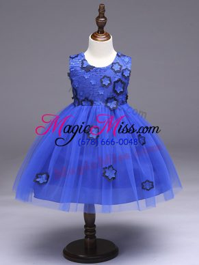 Custom Designed Royal Blue Ball Gowns Appliques and Bowknot Girls Pageant Dresses Zipper Tulle Sleeveless Knee Length