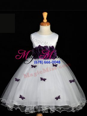 White Scoop Zipper Appliques and Bowknot and Hand Made Flower Little Girls Pageant Dress Wholesale Sleeveless
