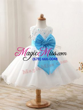 Customized Scoop Sleeveless Zipper Girls Pageant Dresses White Organza