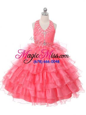 Pretty Floor Length Ball Gowns Sleeveless Coral Red Child Pageant Dress Lace Up