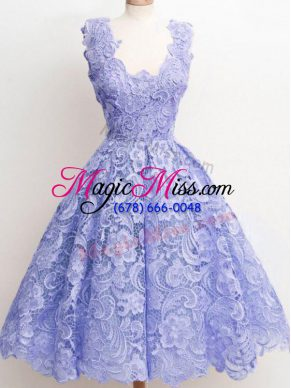 Inexpensive Lavender Sleeveless Lace Zipper Court Dresses for Sweet 16 for Prom and Party and Wedding Party