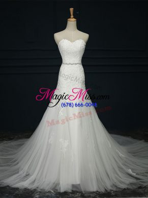 Ideal Sleeveless Court Train Lace and Belt Lace Up Wedding Gowns